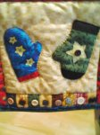 Close-up of mittens - Snowman wall hanging