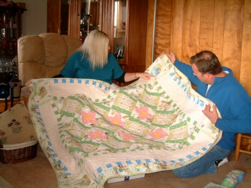 Steph and Dennis opening quilt